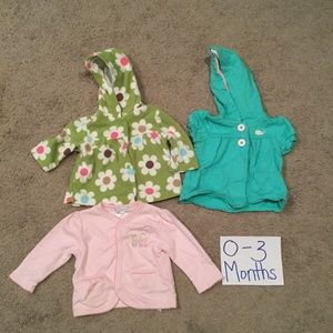 Other - 3 baby girl outerwear/coats, size 0-3 months